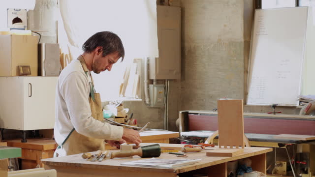 ms pan woodworker working in shop / lamy, new mexico, usa - lamy new mexico stock videos & royalty-free footage