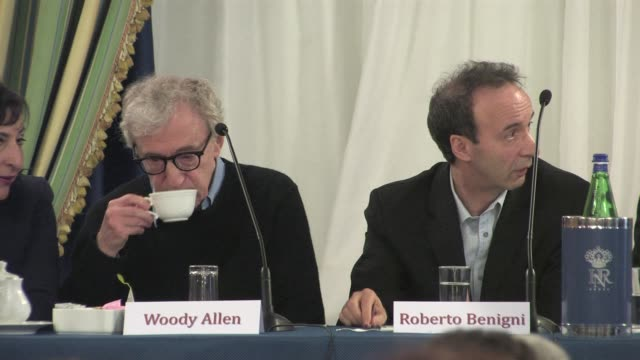 Woody Allen and Roberto Benigni at the To Rome With Love Press Conference at the Hotel Parco Dei Principi in Rome Italy on April 13 2012 Woody Allen...