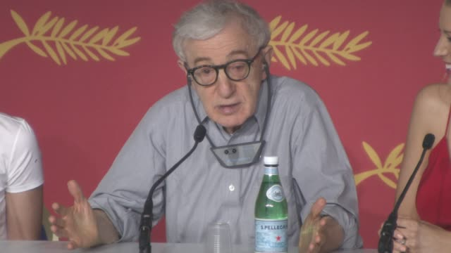 interview woody allen on his age what his secret is at 'cafe society' press conference at palais des festivals on may 11 2016 in cannes france - woody allen stock videos & royalty-free footage