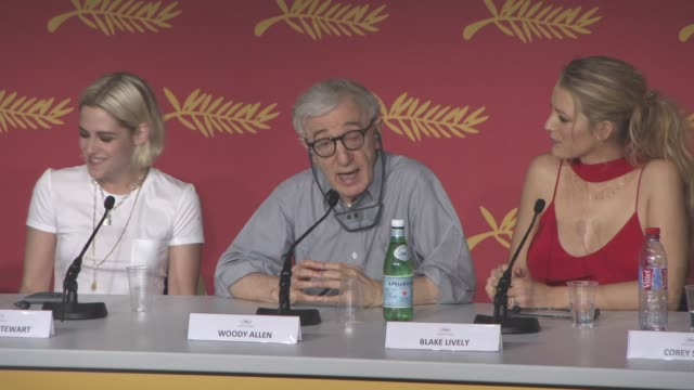interview woody allen on if he would make a film about an older woman having a love affair with a younger man at 'cafe society' press conference at... - woody allen stock videos & royalty-free footage