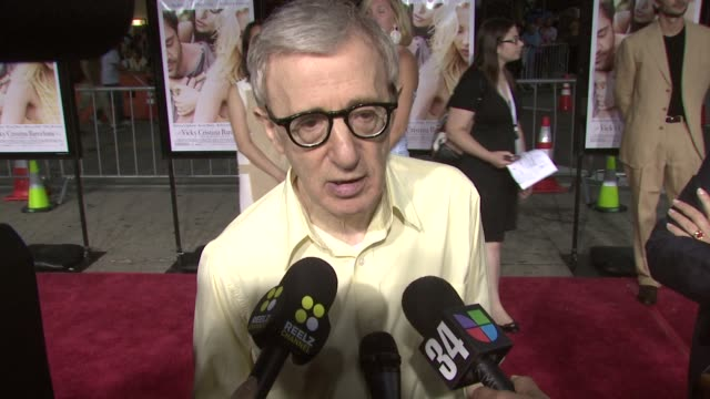 woody allen on the plot filming in barcelona writing a role for penelope at the 'vicky cristina barcelona' premiere at los angeles ca - woody allen stock videos & royalty-free footage