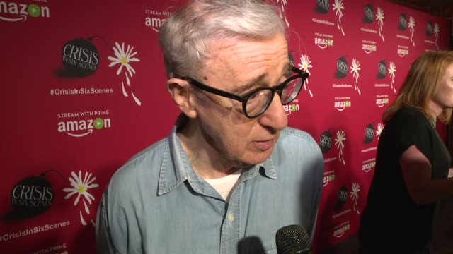 interview woody allen talks about why he chose to work with amazon at crisis in six scenes world premiere screening held in new york city at crisis... - woody allen stock videos & royalty-free footage