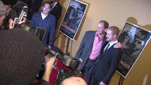 woody harrelson and ben foster at the 'the messenger' new york premiere at new york ny - woody harrelson stock videos and b-roll footage