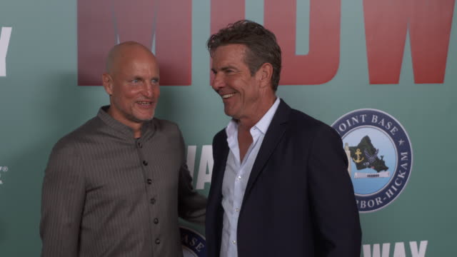 woody harrelson and dennis quaid at the midway special screening joint navy base pearl harbor hickam on october 20 2019 in honolulu hawaii - woody harrelson stock videos & royalty-free footage