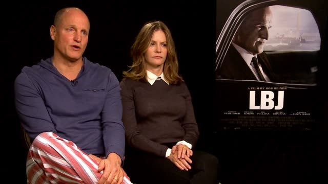 woody harrelson and jennifer jason leigh on lbj's association so much with viet nam but all the other things that lbj accomplished and whether that... - woody harrelson stock videos & royalty-free footage