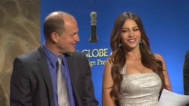 woody harrelson and sofia vergara at the 69th annual golden globe awards nominations in beverly hills - woody harrelson stock videos & royalty-free footage