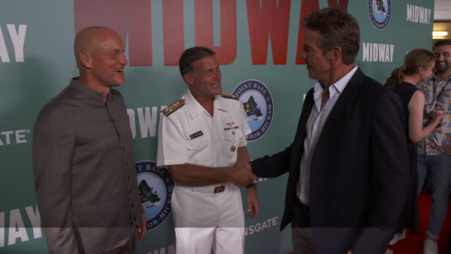 woody harrelson john c aquilino and dennis quaid at the midway special screening joint navy base pearl harbor hickam on october 20 2019 in honolulu... - woody harrelson stock videos & royalty-free footage