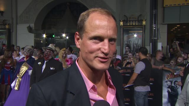 woody harrelson on how he feels about twinkies if he had gun training what scares him and what the best part about filming was at the 'zombieland'... - woody harrelson stock videos & royalty-free footage