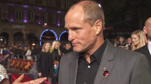 woody harrelson on not seeing the film yet, finishing it all, jennifer lawrence, emotional end, having a party, not missing the cast at 'the hunger... - woody harrelson stock videos & royalty-free footage