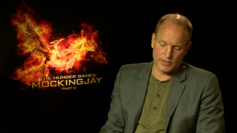 woody harrelson on the filming coming to the end, fun, magical journey, the cast and crew becoming a family at 'the hunger games: mockingjay, part 2'... - woody harrelson stock videos & royalty-free footage