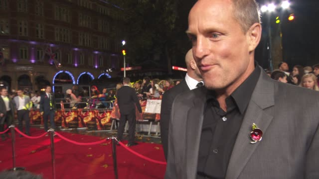 woody harrelson on the red carpet, loving the fans, being part of a smart film, the message of the film, jennifer lawrence at 'the hunger games:... - leicester square stock videos & royalty-free footage