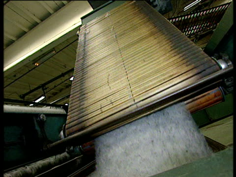 Wool being manufactured in mill including spinning and weaving