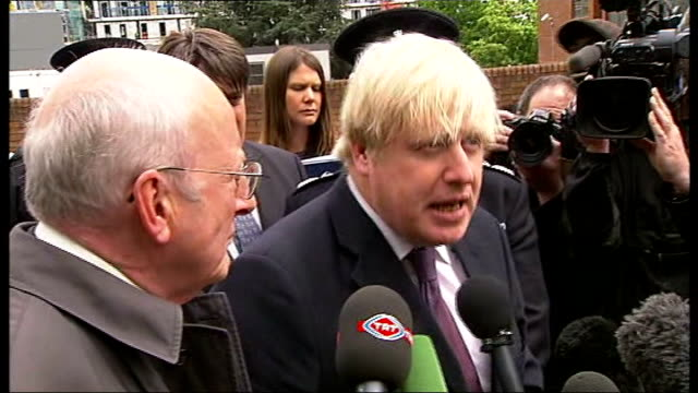 woolwich terror attack: victim named / two further suspects arrested; vox pop boris johnson along with others as visiting woolwich boris johnson... - no doubt stock-videos und b-roll-filmmaterial