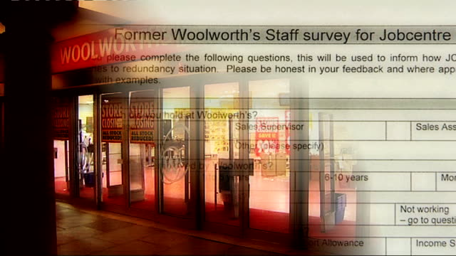 vídeos de stock, filmes e b-roll de woolworths store with former woolworths staff survey for jobcentre satisfaction overlaid - woolworths