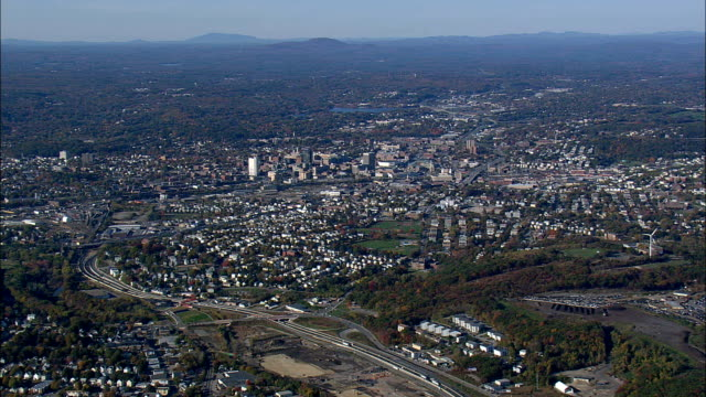 worcester  - aerial view - massachusetts,  worcester county,  united states - massachusetts stock videos and b-roll footage
