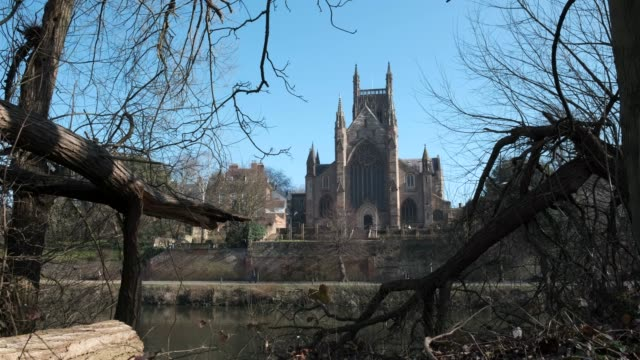 worcester cathedral, worcester, england, uk. - river severn stock videos & royalty-free footage