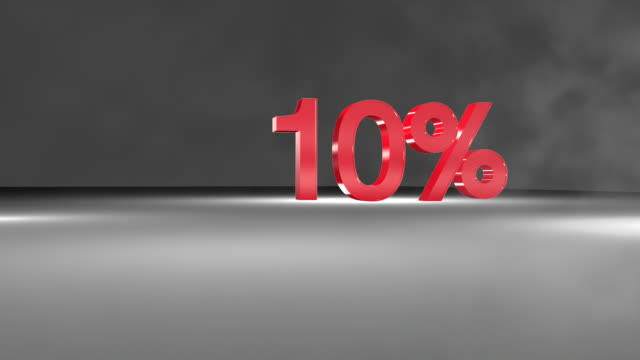10% 3d word animation in fullhd. - price tag stock videos & royalty-free footage