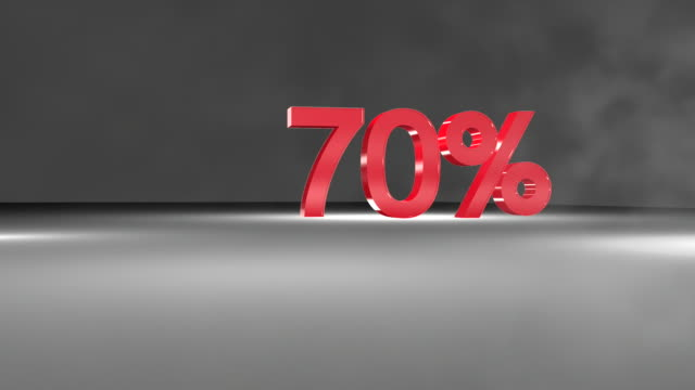 70% wort fullhd 3d-animation in. - number 3 stock-videos und b-roll-filmmaterial