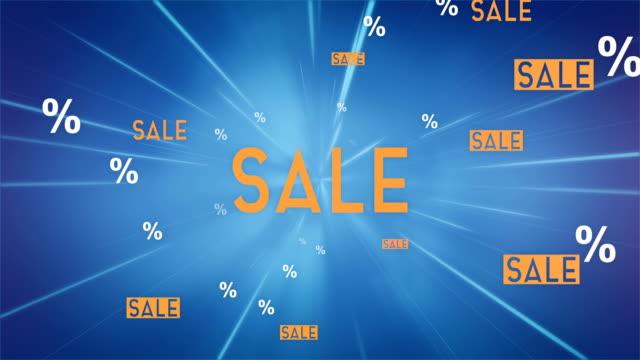 カメラ (青) - ループに向かってフライング販売単語の雲 - セール点の映像素材/bロール