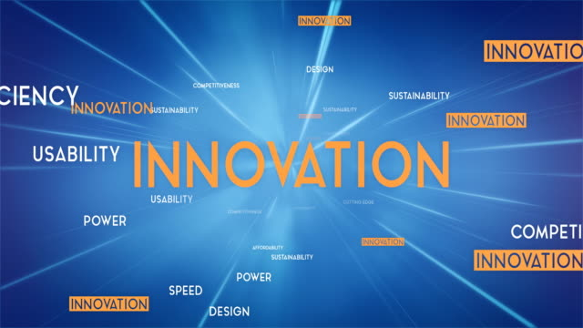 INNOVATION Word Cloud Flying Towards Camera (Blue) - Loop