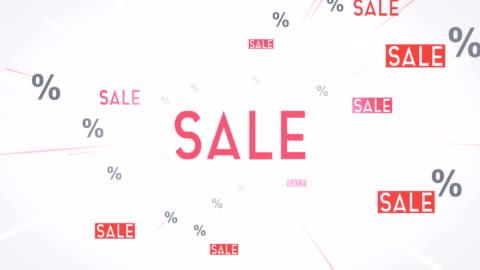 vídeos y material grabado en eventos de stock de venta palabra nube vuelan hacia la cámara (blanco) - lazo - rebajas