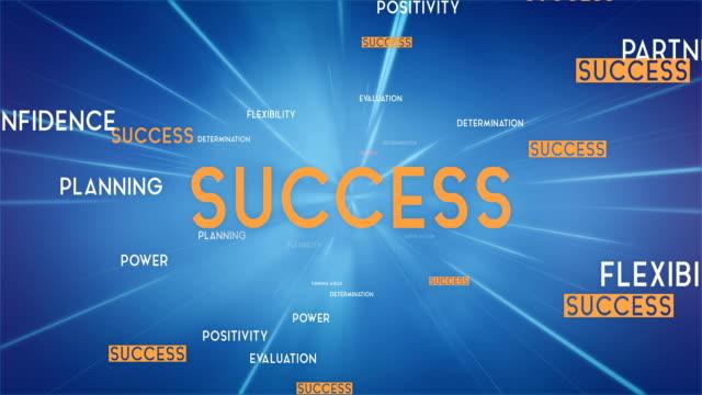 Erfolg-Wortwolke fliegen in Richtung Kamera (blau) - Loop