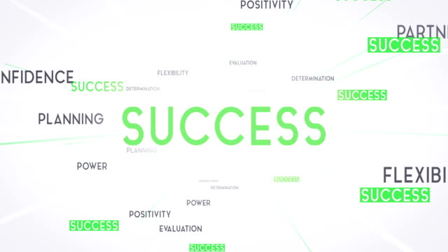 SUCCESS Word Cloud Flying Towards Camera (White) - Loop