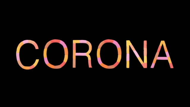 """word """"corona"""" created with powder in warm colors exploding towards camera in super slow motion and closeup on black background - overflowing stock videos & royalty-free footage"""