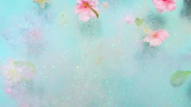 """vidéos et rushes de word """"hello spring"""" made with multi colored pastel glitter and surrounded silk cherry blossoms and leaves, exploding towards camera and becoming defocused on light blue background, glittering bokeh - sans mise au point and équilibre"""