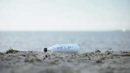 Word Help in glass bottle lying on beach, mystery message of shipwreck survivors