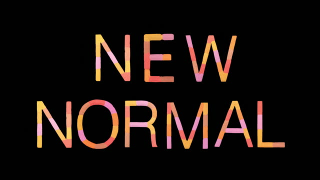 "word ""new normal"" created with powder in warm colors exploding towards camera in super slow motion and closeup on black background - leuchtende farbe stock-videos und b-roll-filmmaterial"