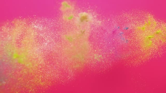 """vídeos de stock, filmes e b-roll de word """"self love"""" made with multi pastel colored powder exploding towards camera and becoming defocused on pink background, glittering bokeh - fofo texturizado"""