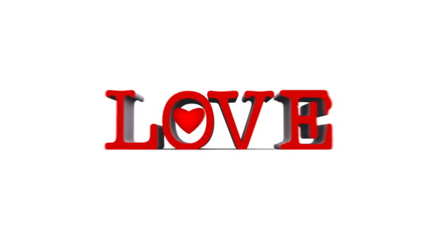 LOVE word with heart beat