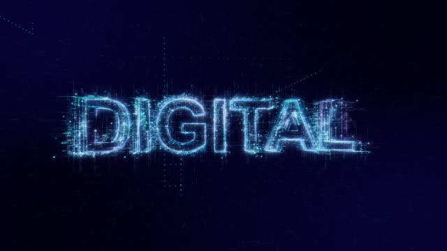 vidéos et rushes de digital words icon digital code technology background - affichage digital