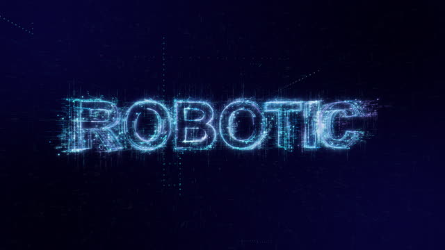 robotic words icon digital code technology background - robotics stock videos & royalty-free footage