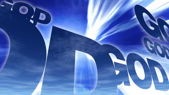 vidéos et rushes de dieu mots dans ciel bleu - religion