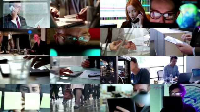 composito di lavoro - video collage video stock e b–roll