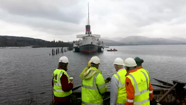 work is carried out to lift the paddle steamer the maid of the loch on january 10 2019 in ballochscotland loch lomond's paddle steamer maid of the... - time's up social movement stock videos and b-roll footage