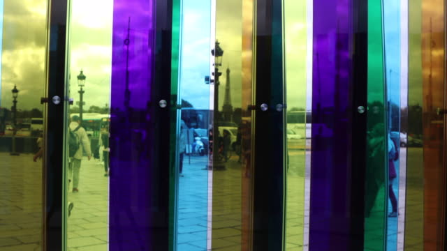 work of art by artist carlos cruzdiez called 'environnement de transchromie circulaire 19652017' is seen at the place de la concorde as part of fiac... - obelisk of luxor stock videos & royalty-free footage