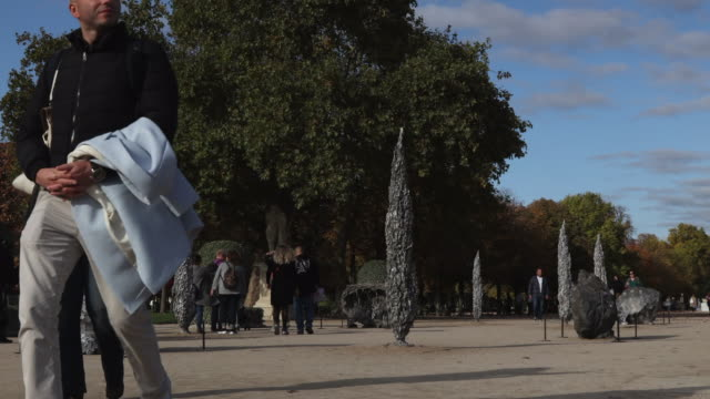 work of art by artist jeanmarieappriou called 'grotto' is seen at the jardin des tuilleries as part of fiac hors les murs 2019 on october gallery eva... - installationskunst stock-videos und b-roll-filmmaterial