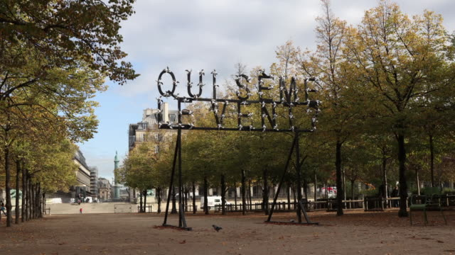 a work of art by pierre ardouvin called 'qui seme le vent' is seen at the jardin des tuilleries as part of fiac hors les murs 2019 on october gallery... - installationskunst stock-videos und b-roll-filmmaterial