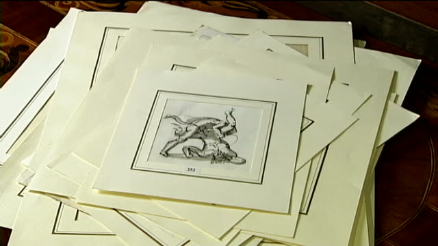 Work of art forger Eric Hebborn goes up for auction Reporter to camera SEQUENCE of Hebborn sketches appearing one on top of each opther on table...