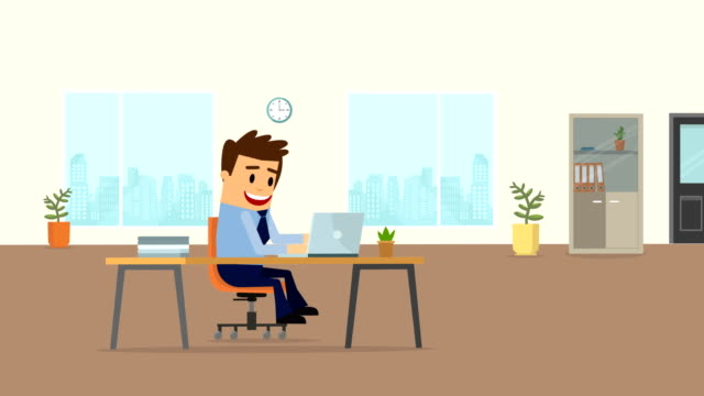 work office businessman cartoon animation. - manager stock videos & royalty-free footage