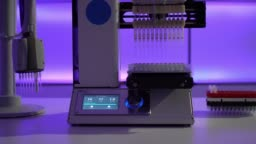 Workbench in microbiological lab with PCR machine