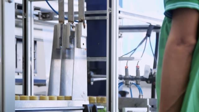 ワーカー ボトル工場で生産ラインのボトルをチェック - 食品工場点の映像素材/bロール