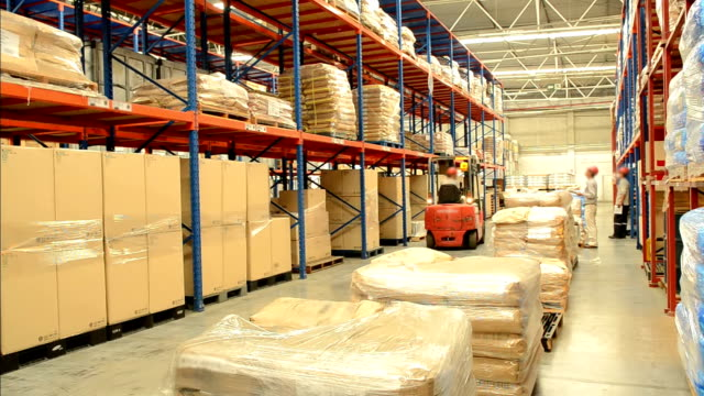 Worker Checking Inventory With Forklift Truck In Warehouse