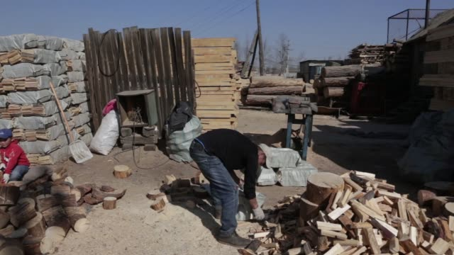 worker chops wood with an axe at a timber supplier in ulaanbaatar, mongolia, on tuesday, march 14 workers pack chopped wood into sacks at a timber... - mongoliet bildbanksvideor och videomaterial från bakom kulisserna