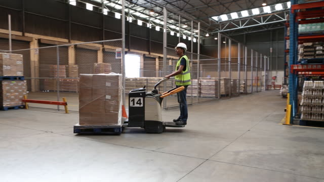 worker in a large food distribution warehouse - entladen stock-videos und b-roll-filmmaterial