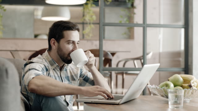 worker in glasses drinking coffee while typing on laptop - domestic life stock videos & royalty-free footage