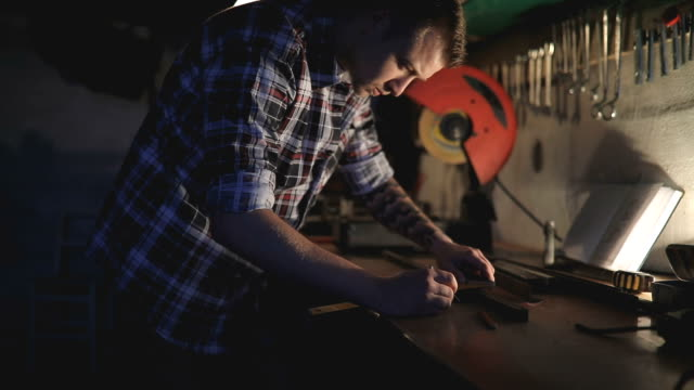 worker in his workshop - toolbox stock videos and b-roll footage